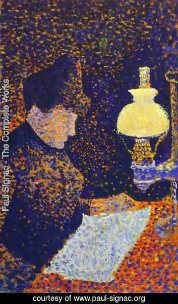 Paul Signac - Woman by a lamp, 1890