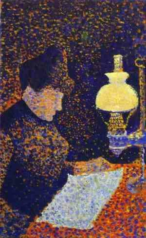 Woman by a lamp, 1890