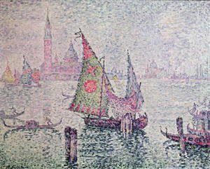 Paul Signac - The Green Sail, Venice, 1904