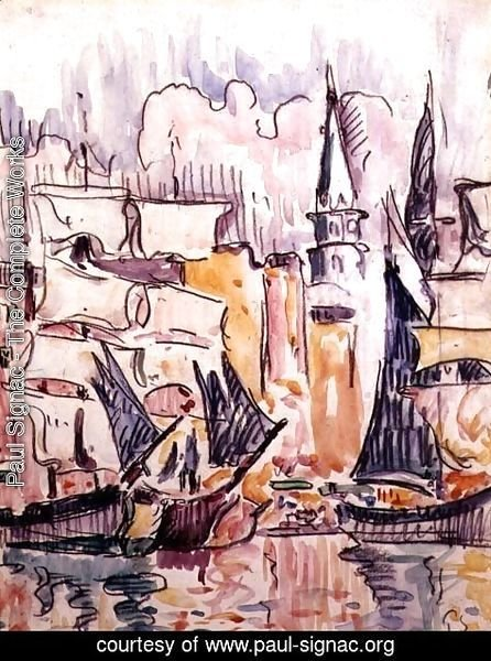 Paul Signac - Sailing Boats in a Port