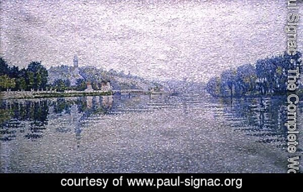 Paul Signac - View of the Seine at Herblay, 1889