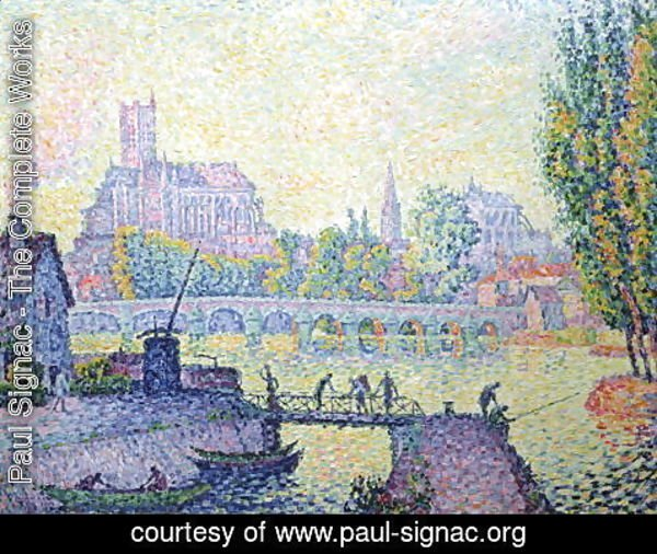 Paul Signac - View of the bridge of Auxerre, 1902