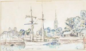 Paul Signac - Sailboat At Dock, Paimpol