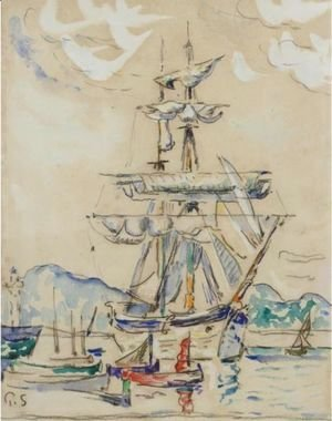 Paul Signac - Two-Masted Sailboat At Anchor